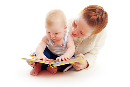 Mum and baby reading together