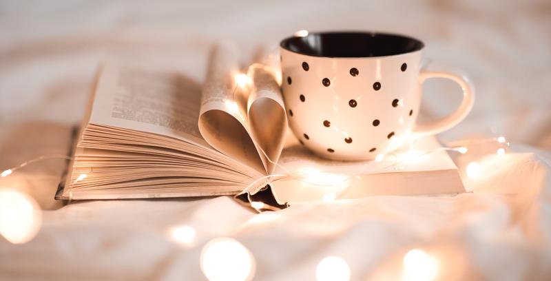 coffee, book, twinkle lights