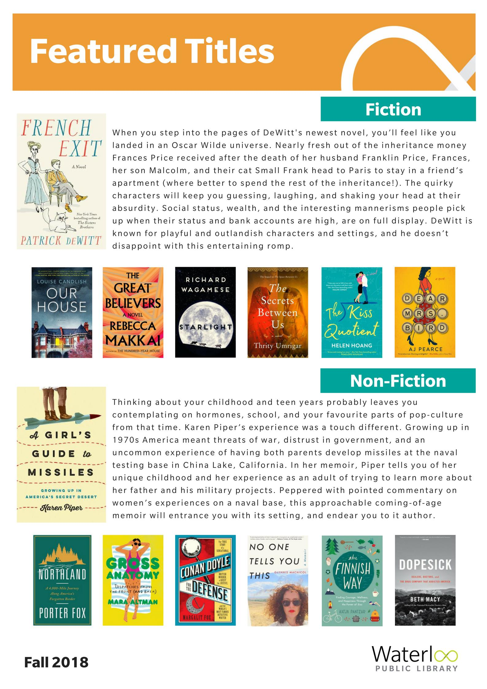 Featured Titles list - Fall 2018