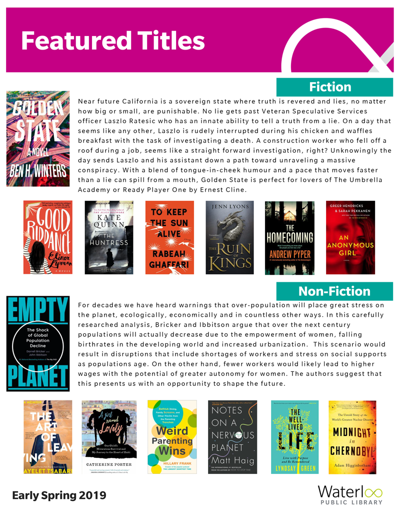 A list of hot new books for spring 2019