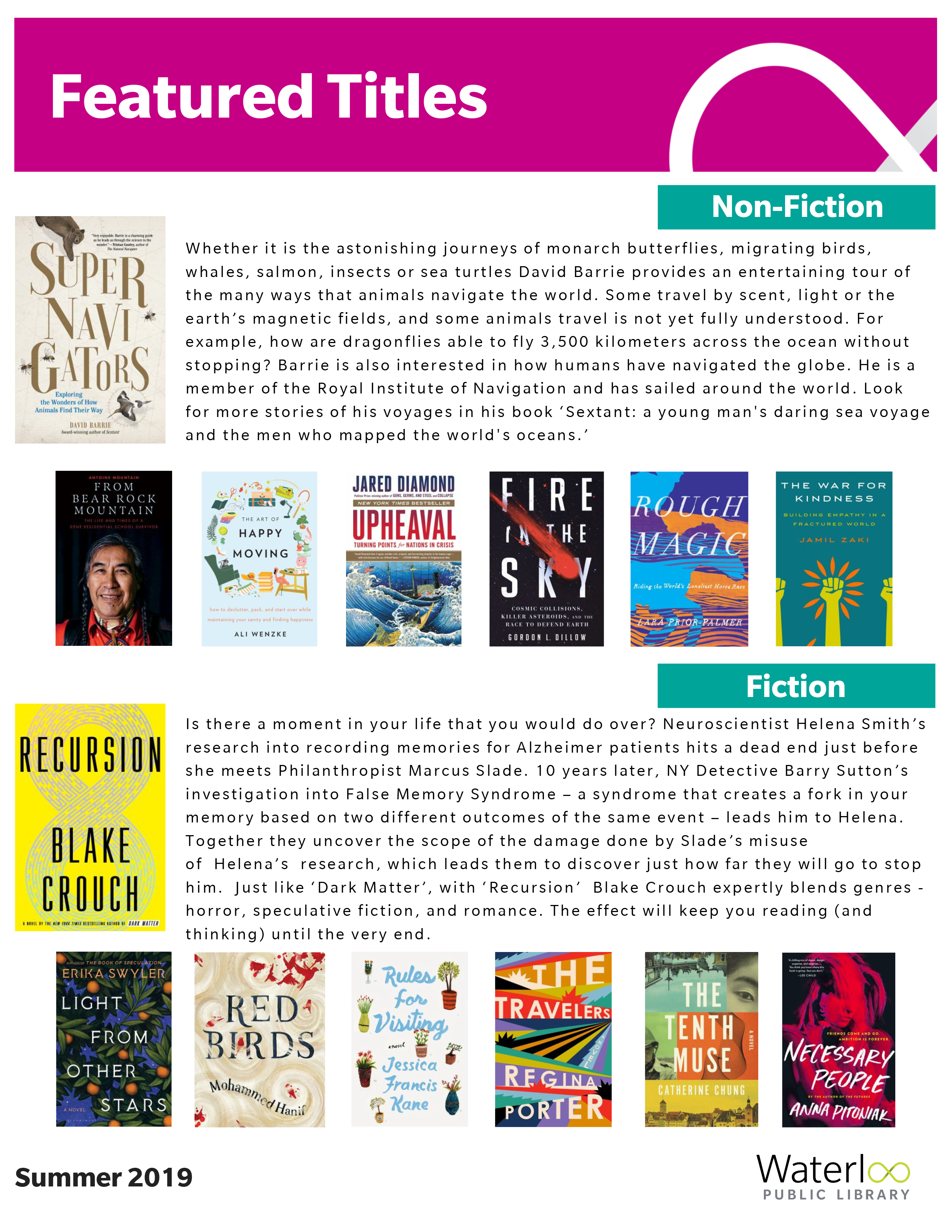 Featured Titles for Adults - Summer 2019
