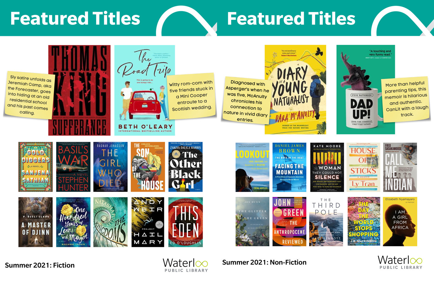 Selection of book covers from the Summer Featured Titles List - 2021